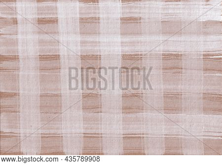 Rustic Checkered Background With Stripes Of White Paint On Light Brown Craft Paper. Hand Drawn Textu