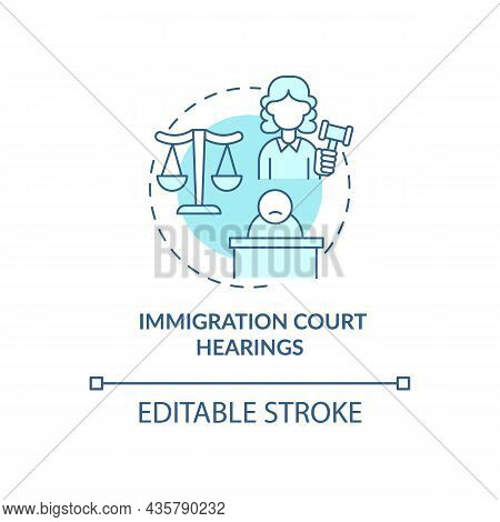 Immigration Court Hearings Blue Concept Icon. Judicial Procedure On Immigration Cases. Deportation A