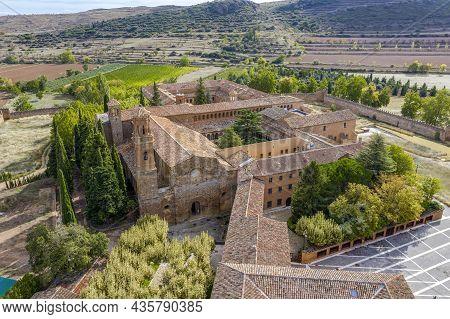 Aerial View Of Church In The Abbey Royal Monastery Of Santa Maria De Veruela, Vera De Moncayo, Zarag
