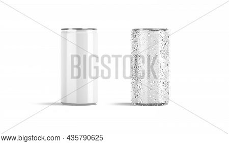 Blank White Aluminum 280 Ml Soda Can Mockup Set, Front View, 3d Rendering. Empty Narrow Canned Beer