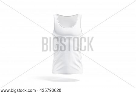 Blank White Tank Top Mockup, Front View, 3d Rendering. Empty Fabric Sleeveless T-shirt For Sport Or
