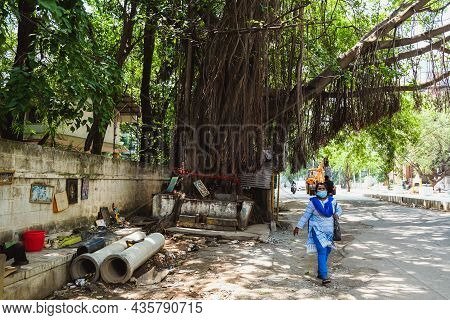 Bangalore, India - May 31, 2020: An Indian Woman Walking On The Road In Bangalore, Lady Wearing A Bl