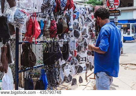 Bangalore, India - May 31, 2020. Face Masks Are Sold On A City Street During A Pandemic. Bangalore I