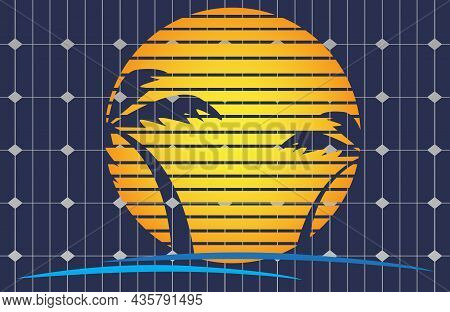 Solar Photovoltaic Module. Green Energy Sustainable Resources Concept. Solar Photovoltaic With Sun.