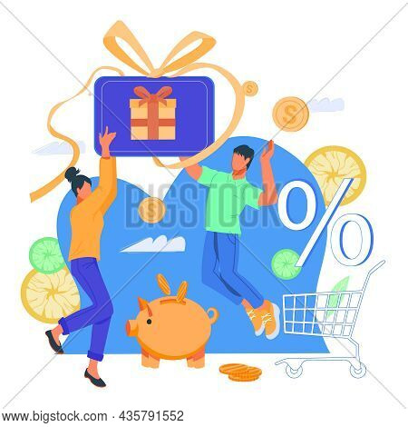Shopping, Cashback And Earn Points For Purchase Banner With Happy Clients Getting Cash Rewards In On