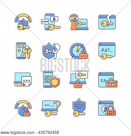 Password Management Rgb Color Icons Set. Smartphone And Computer Safeguard. Internet Safety. Secure