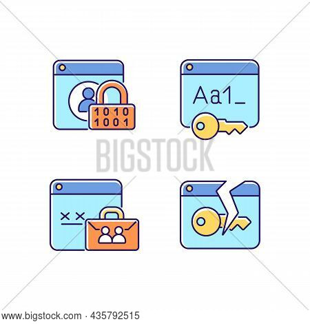 Password Encryption Rgb Color Icons Set. Internet Safety. Corporate System Security. Data Protection