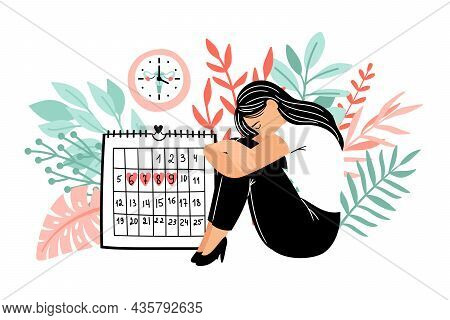 Cramps Period. Menstruation Days Vector Illustration, Lady Periodical Abdomen Pain Dates, Girls Cale