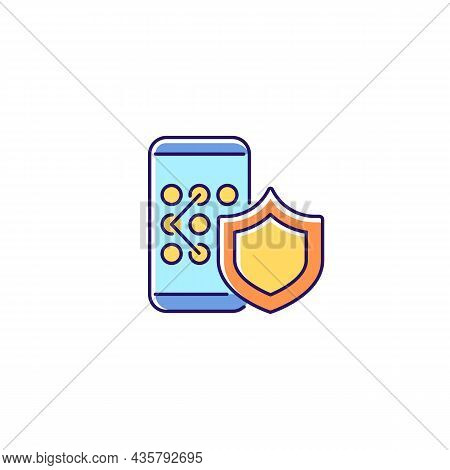 Phone Unlock Rgb Color Icon. Smartphone Safety Measures. Mobile Privacy. Safeguard For Secure System