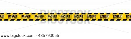 Danger, Caution And Warning Seamless Tapes. Black And Yellow Police Stripe Border. Crime Vector Illu