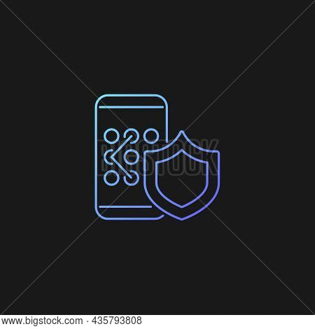 Phone Unlock Gradient Vector Icon For Dark Theme. Smartphone Safety. Mobile Privacy. Password Manage