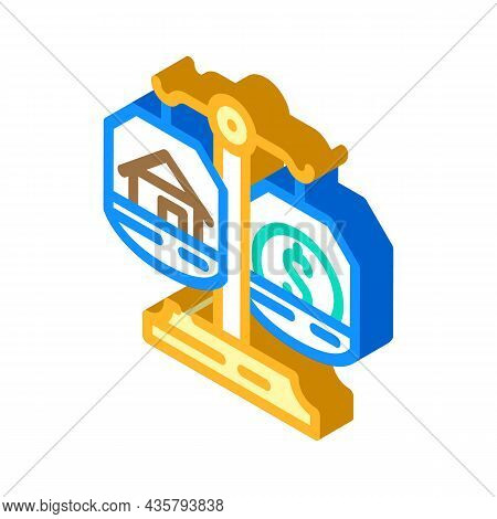 Property Division After Divorce Isometric Icon Vector. Property Division After Divorce Sign. Isolate