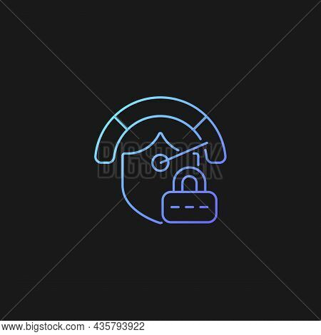 Strong Password Gradient Vector Icon For Dark Theme. Safeguard For Data. Secure System. Password Man