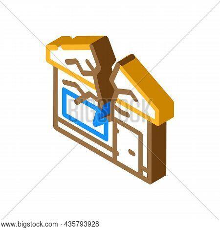 Crashed House Isometric Icon Vector. Crashed House Sign. Isolated Symbol Illustration