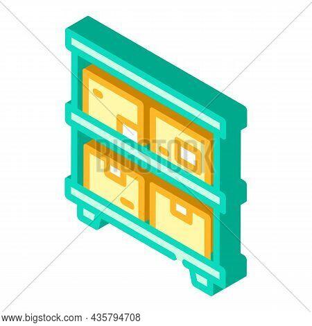 Warehouse Shelves Isometric Icon Vector. Warehouse Shelves Sign. Isolated Symbol Illustration