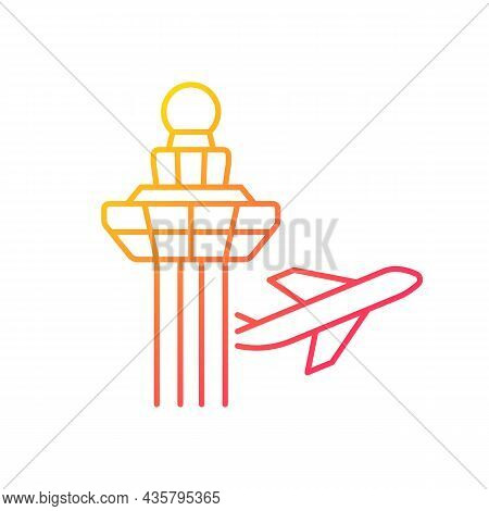 Changi Airport Control Tower Gradient Linear Vector Icon. Visual Observation From Tower. Air Traffic