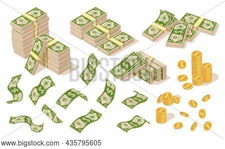 Isolated Cartoon Money Cash. Dollars Bundle, Financial Dollar Bills. American Currency, Flying Green