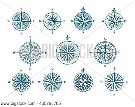 Wind Rose Compass Icons. Cartography Elements, Vintage Navigation. Marine Signs, East North Nautical