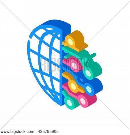 Digitalization Global Business Isometric Icon Vector. Digitalization Global Business Sign. Isolated