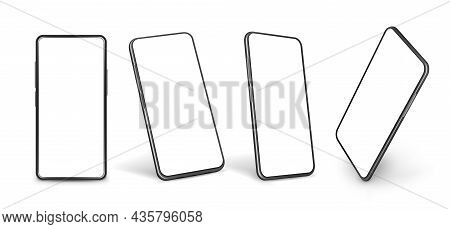 Smartphone Mockup. Mobile Phone Model, Smartphones Modern Display In Perspective. Graphic Isolated 3