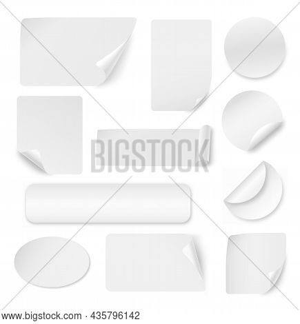 Curled Corners Stickers. White Sticker Banners, Sticky Label Mockup. Curl Edge Circle, Square Paper