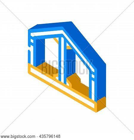 Building Metallic Framework Isometric Icon Vector. Building Metallic Framework Sign. Isolated Symbol
