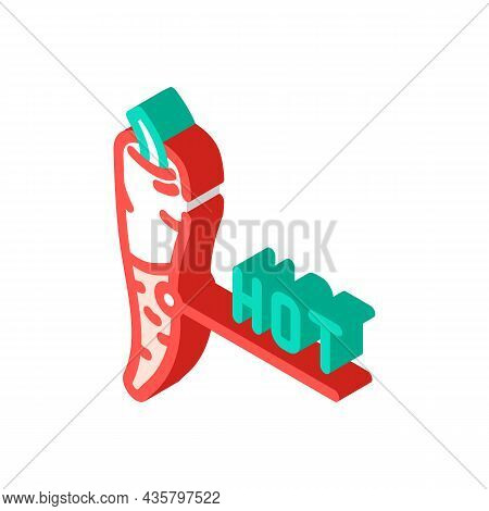 Hot Pepper Isometric Icon Vector. Hot Pepper Sign. Isolated Symbol Illustration