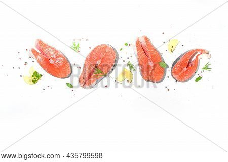Ready For Cooking Raw Salmon Steaks