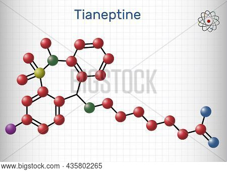 Tianeptine Molecule. It Is Tricyclic Antidepressant Tca. Structural Chemical Formula And Molecule Mo