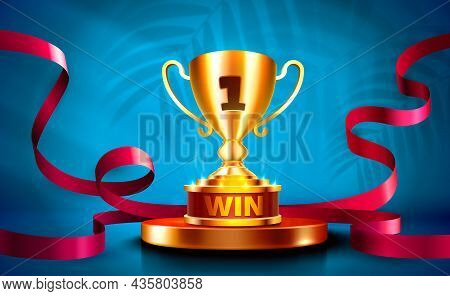 Stage Cup With Lighting, Stage Podium Scene With For Award Ceremony On Night Background.