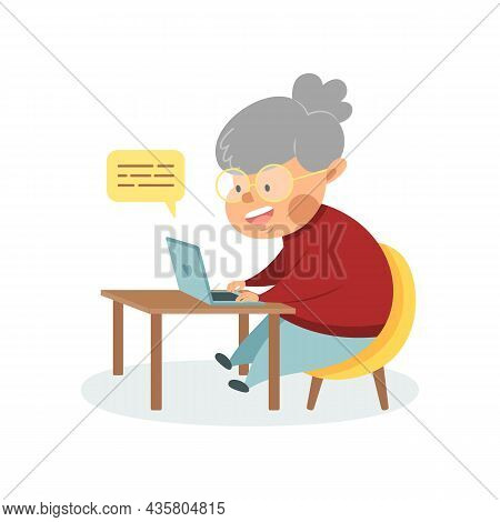 Happy Grandma With Laptop. Cute Cartoon Grandmother Sitting At A Table With A Computer. An Advanced
