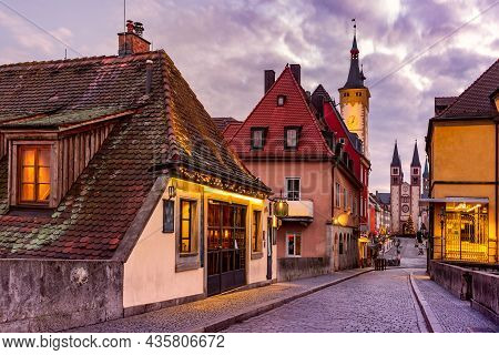 Old Main Bridge, Alte Mainbrucke, Cathedral And City Hall In Old Town Of Wurzburg, Franconia, Bavari