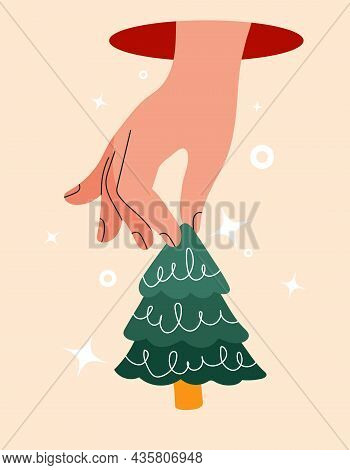 Hand Holds Cut Out Paper Christmas Tree For Xmas. Close Up Fingers Emerge From Tunnel. Modern Design