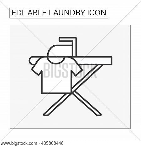 Ironing Line Icon. Ironing Board For Clothing. Cleaning Service. Laundry Service Concept. Isolated V