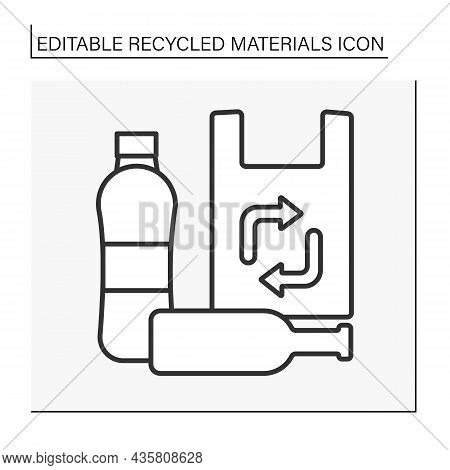 Recycling Line Icon. Plastic Bags, Glass Bottles For Recycling. Recycled Materials Concept. Isolated