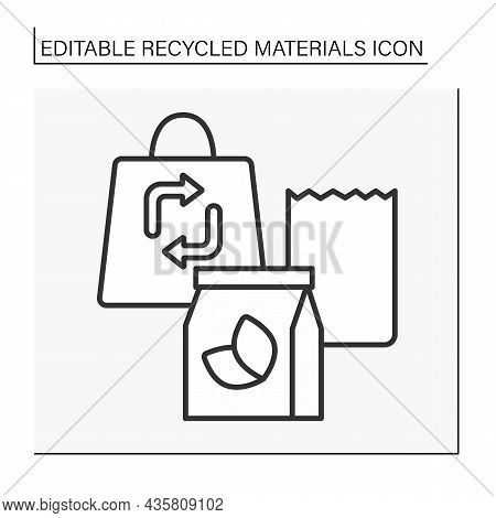 Paper Recycling Line Icon. Recycle Packing Boxes. Ecology Protection. Recycled Materials Concept. Is