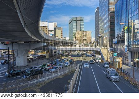 Tokyo, Japan - January 6,2020 : Traffic Scene In Front Of Ueno Station In Tokyo, Japan On January 6,