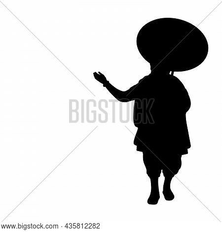 Silhouette Onam Mahabali King. Happy Onam. Indian Culture And Religion. Illustration Symbol Icon