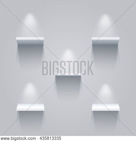 Museum Light Shelves. Clear 3d Shelf Set With Lights, Empty Exhibit Retail Or Book Store Shelfs, Mar