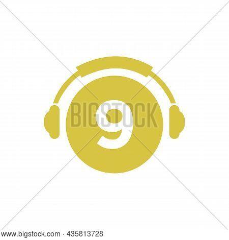 Headphone Template On 9 Letter. Letter 9 Music Logo Design. Dj Music And Podcast Logo Design Headpho