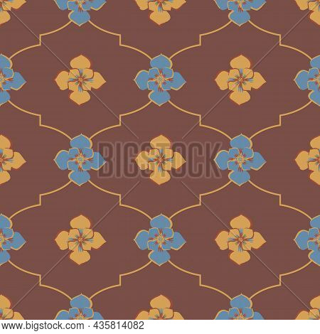 Medieval Rose Ogee Vector Pattern Background. Azulejo Tile Style Backdrop Of Hand Drawn Flowers With