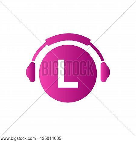 Headphone Template On L Letter. Letter L Music Logo Design. Dj Music And Podcast Logo Design Headpho