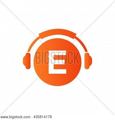 Headphone Template On E Letter. Letter E Music Logo Design. Dj Music And Podcast Logo Design Headpho