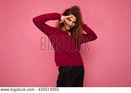 Portrait Of Young Positive Happy Joyful Beautiful Brunette Curly Woman With Sincere Emotions Wearing