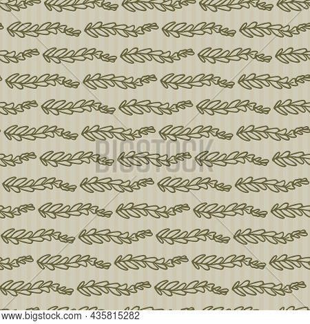 Retro Botanical Fern Frond Vector Pattern. Seamless Vintage Ecological Foliage For All Over Print. H