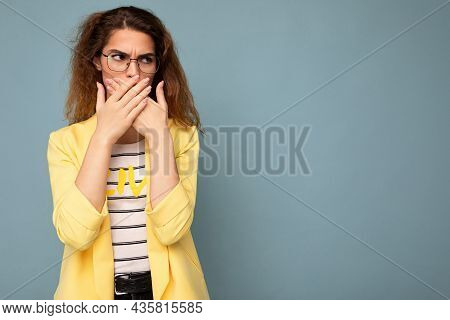 Photo Shot Of Young Angry Sad Nice Cute Brunette Curly Woman With Sincere Emotions Wearing Trendy Ye