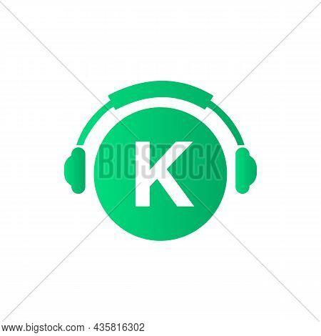Headphone Template On K Letter. Letter K Music Logo Design. Dj Music And Podcast Logo Design Headpho