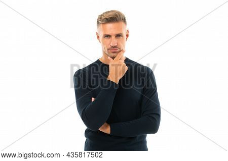 In Deep Thought. Serious Man Think Stroking Chin. Thoughtful Guy. Thinking Gesture. Think Big