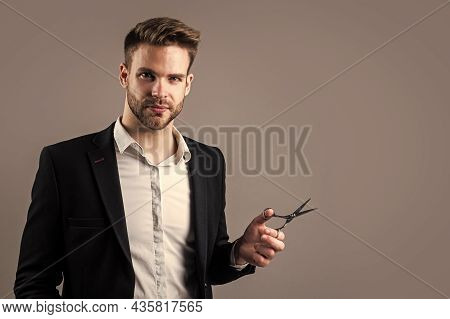 Well Groomed Hairstyle. Male Beauty And Fashion Look. Formal Office Costume For Bearded Guy. Unshave