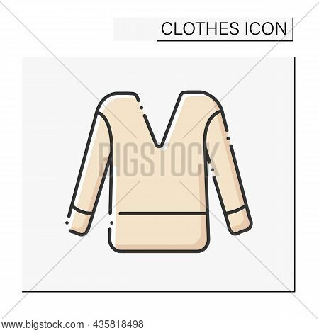 Fashion Color Icon. Comfortable Jumper. Street Style. Shopping. Clothes Concept. Isolated Vector Ill
